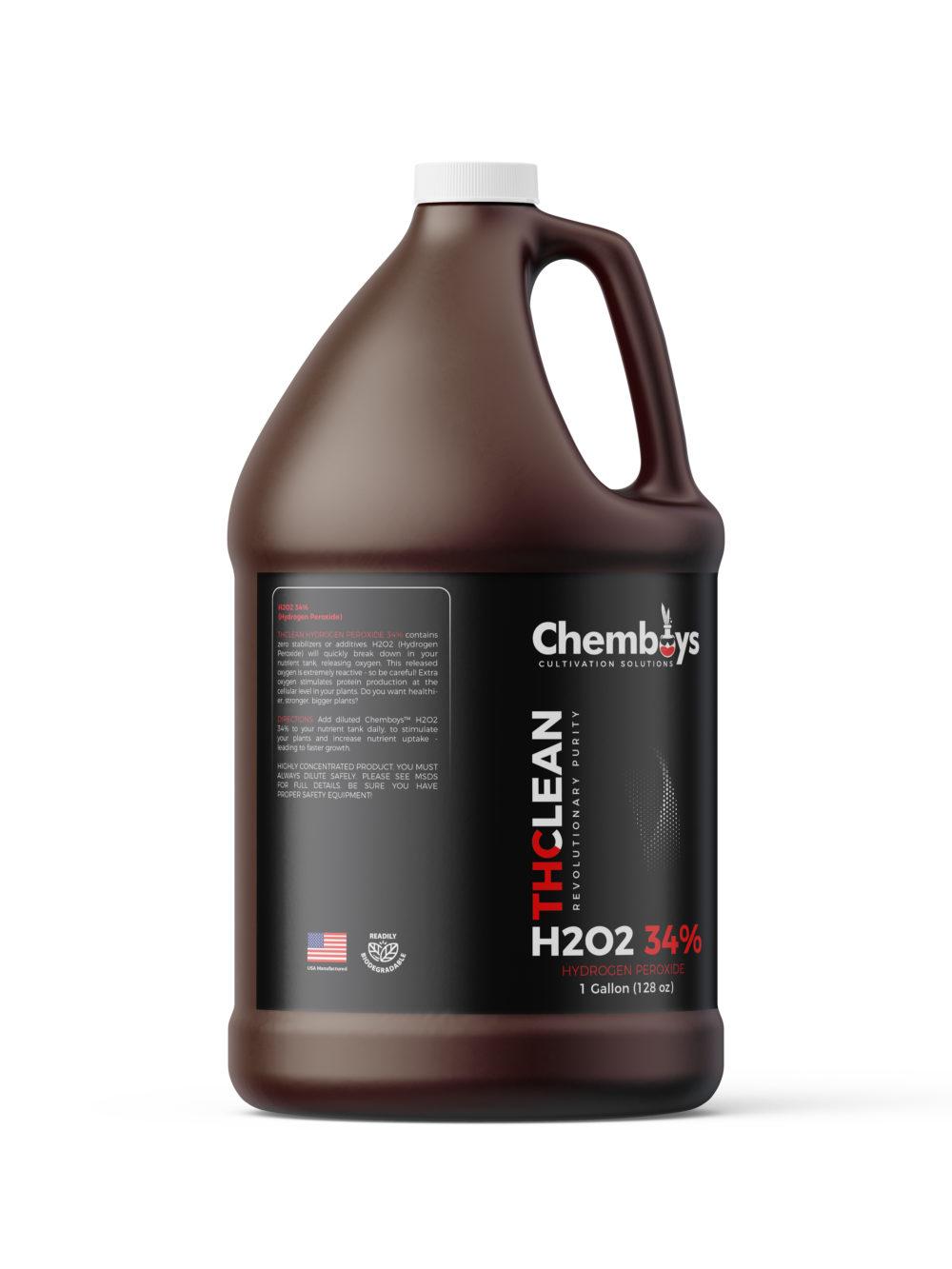 1 Gallon of 34.0% pure H2O2 side view
